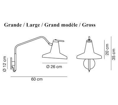 GARÇON - nástěnná lampa, velká, černá - 2