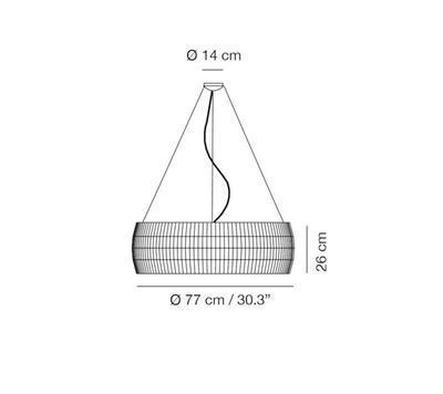 ISAMU - závěsná lampa, průměr 77 cm perlová - 2