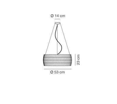 ISAMU - závěsná lampa, průměr 53 cm bílá - 2