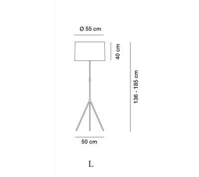 SIGNORA - stojací lampa, L (Ø 55 cm), matný nikl / bílá - 2