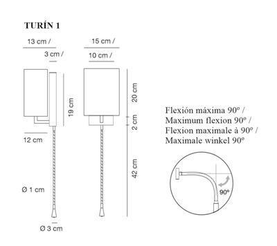 TURÍN 1 - nástěnná lampa - 2