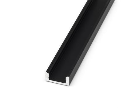 ALU přisazený černý 17,4x8 délka 2m krytka čirá - 3