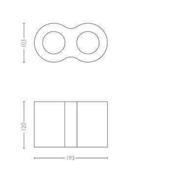 Pillar Hue plate/spiral black 2x5.5W 5633230P7 - 3
