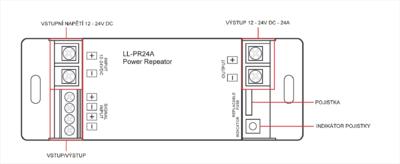 LL - PR24A jednokanálový zesilovač signálu 1x24A  - 4